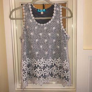 Buttons Lace Overlay Top